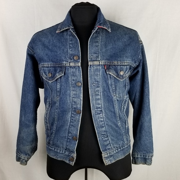 Levi S Jackets Coats Levis Jean Jacket Red Plaid Flannel Lined